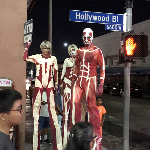Photos by Charly SHELTON Titans stalk Hollywood Blvd. in celebration of the premiere.