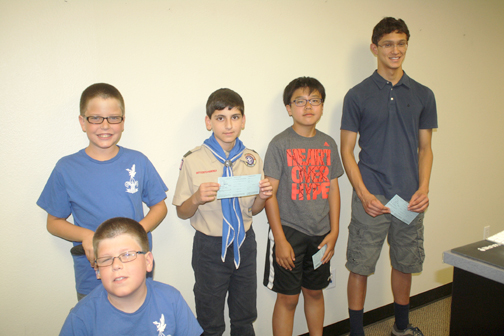Photo by Charly SHELTON Boy Scouts from Troop 319 stopped by the offices of the CV Weekly. From left are Brody Heim, Connor Heim, Cross Garabedian, Kevin Hwang and Diego Williams.