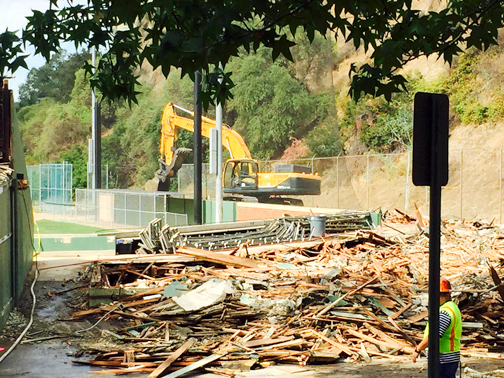 Photos provided by Bryan LONGPRE Earlier this month bulldozers took to Stengel Field to demolish the stands and clubhouse.