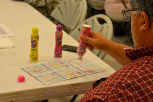 Photos by Dick CLUBB Anthony Portantino has his dauber at the ready during one of the 10 bingo games played at Healy Hall on Friday benefitting the American Legion and VFW posts.