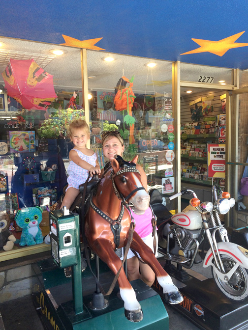 Youngsters love riding the horse in front of Critters.