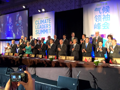 Photos by Charly SHELTON Gov. Brown and Los Angeles Mayor Eric Garcetti were among several U.S. mayors and governors as well as many local and national leaders from China who attended a climate change summit held this week.