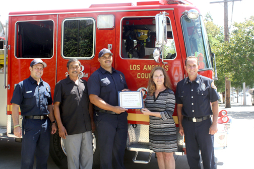 Firefighter of the Year Kory Lombard was honored at Los Angeles County Fire Station 63.