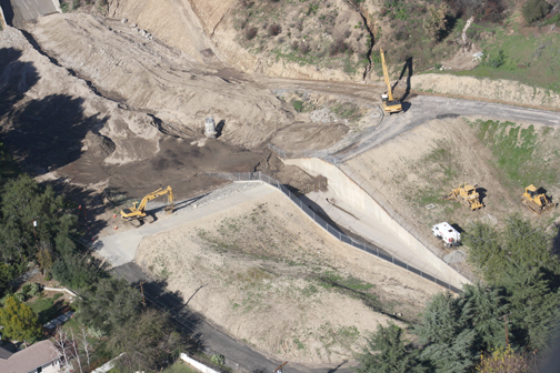 File photo City of Glendale and Los Angeles County Public Works are working together to clear debris basins, like those above in 2010, in anticipation of El Niño.