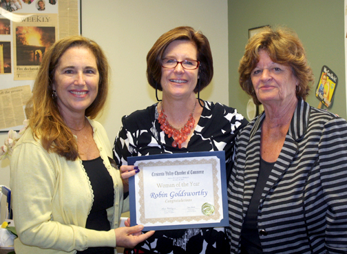 Robin Goldsworthy, center, was recognized as Woman of the Year.