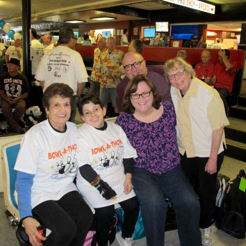 Families took part in a previous bowl-a-thon with their loved ones – clients Lynette and Susie.