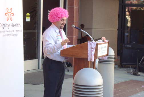 Glendale Memorial's director of radiology Housni Hariri addressed the audience while sporting a pink wig in recognition and support of Breast Cancer Awareness Month.