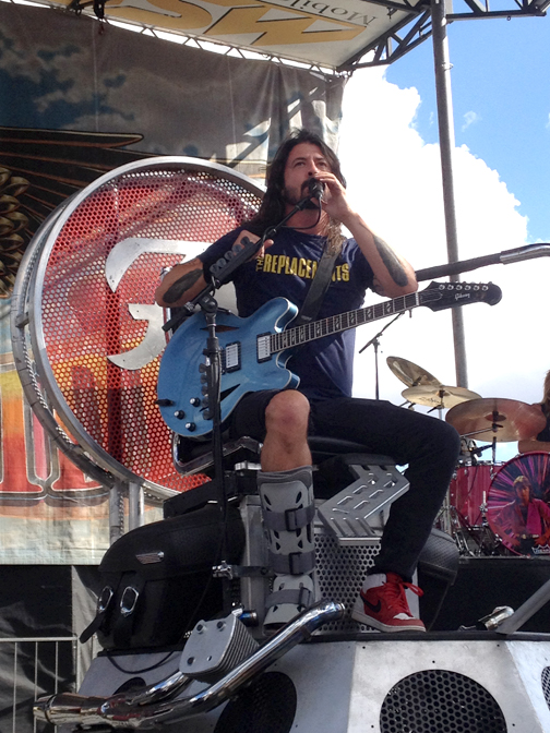 Photos by Matthew GOLDSWORTHY Foo Fighters lead singer Dave Grohl at Sunday's concert in support of Love Ride 32 – Grand Finale.