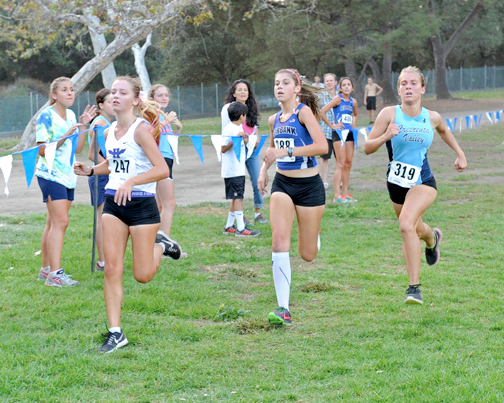 Photos by Leonard COUTIN CV's Emily Perkins attempted to run down Hoover's Leah Saunders and Burbank's Jamie Giamichelle.