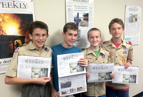 Scouts Parker Lee, Max Burton, Max Reil and Alden Marriott stopped by the offices of the Crescenta Valley Weekly as part of their journalism merit badge requirements.