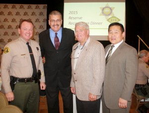 Los Angeles County Sheriff Jim McDonnell, left, with honorees Steve Goldsworthy and Dannie Hensley and CV Station Captain Bill Song.