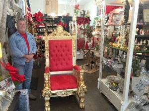 Photo by Charly SHELTON Dale Dawson, business administrator and events coordinator for the MSPA, proudly shows off the new Santa throne.