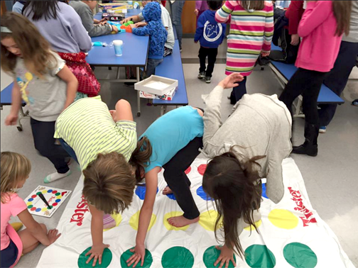 9. Twister fun at Game night