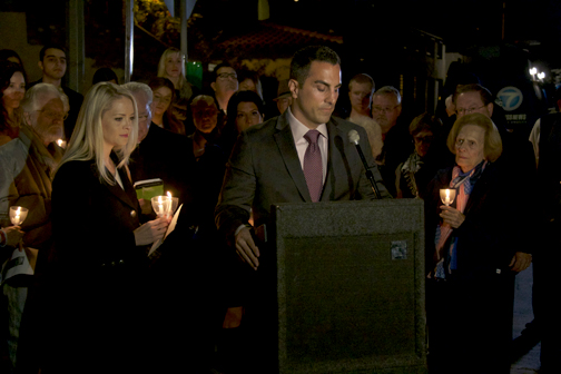 Photo by Charly SHELTON Gatto spoke at the Nov 12 candlelight vigil to give an update on his father's case and to express the family's thanks for thoughts and prayers.
