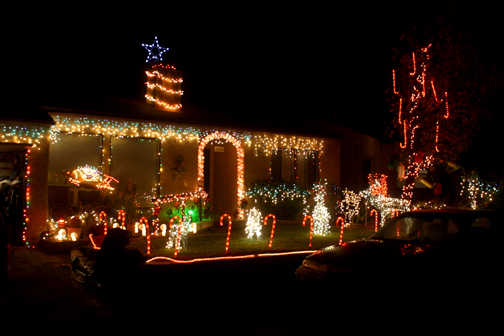 This home in the 2500 block of Evelyn Street in Montrose is brightly decorated for the season.