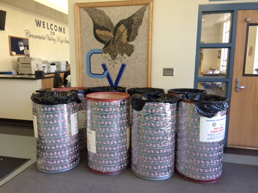Photos by Mary O'KEEFE Bill Latuf, CV Sheriff's volunteer, delivers donations bins to Crescenta Valley High School.