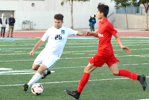 Photos by Dan HOLM.  Fancy footwork by CV's Clyde Hovsepian wasn't enough to beat Pasadena. CV lost 2-1.