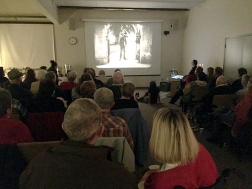 Photos by Charly SHELTON Guests at the holiday party of the Historical Society of the Crescenta Valley on Monday night had the chance to watch silent movies provided by Joe Rinaudo.