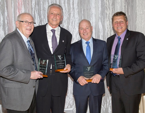Photo provided by Hongbin DAI Celebrated at the gala were (from left) Don Galleher, who received the Spirit Award; Ara Kalfayan, chairman of the board of directors of the YMCA of Glendale, who received the Leadership Award; Steve Bussjaeger, president of the Gregg Bussjaeger Foundation with the Champion Award; Glendale Mayor Ara Najarian, who accepted the Partnership Award on behalf of the City of Glendale.