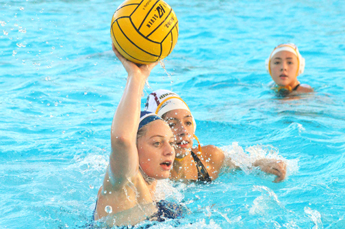 Photos by Brandon HENSLEY Falcon Audrey Taylor looks to be one of the key figures in moving the Lady Falcons water polo team forward to its seventh straight league title.