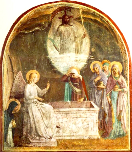 Fresco at Convent of San Marcos, Florence, Italy. Resurrection of Christ and the Women at the Tomb, Fra Angelico, 1440.