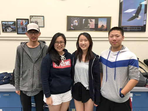 Photo by Mary O'KEEFE CVHS JROTC juniors and members of the Academic Bowl are heading to final competition in Washington, D.C. From left are Sunghoon (Jerry) Jung, Grace Kim, Yeren (Clara) Lee and Samuel Park.
