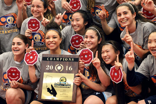 Photos by Jessica SHUMATE After a game that was too close for comfort, the CV Falcons beat the Mira Costa Mustangs on Saturday 37-36 to take home a CIF division 1A championship – a first for CV girls' basketball.