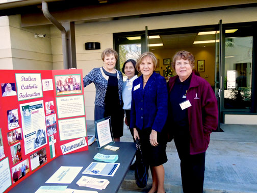 Some of the members of the St. Joseph Table committee of ICF Branch 374 at St. Bede Parish are shown outside the Parish Center, which held the St. Joseph Table. From left are Diane Restivo, Emy Mannarelli, Fiora Marcucci Murphy and Mary Wynton.
