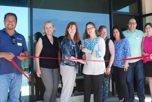 The CV Chamber of Commerce welcomed Spiral Path Yoga Center to the Crescenta Valley this past week with a ribbon cutting ceremony. Co-owners Peggy Burt and Addie deHilster (center) do the honors.