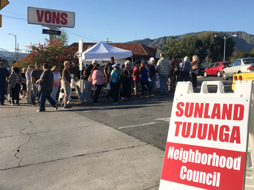 Photos by Charly SHELTON Record voter turn out was seen at Saturday's Sunland-Tujunga Neighborhood Council elections.