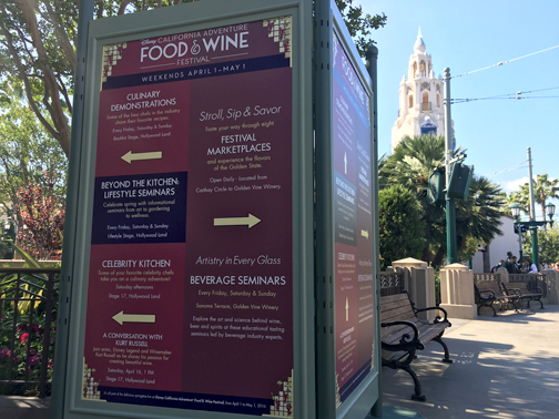 The Food and Wine Festival is held at Disney's California Adventure park between the top of Buena Vista Street and Paradise Bay.