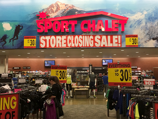 Photo by Charly SHELTON Sales on merchandise at Sport Chalet stores has been reduced in preparation for the closing of all the locations.