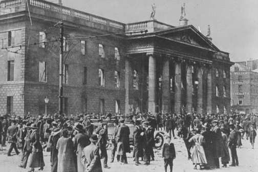 Photos Courtesy British Pathé The General Post Office in Dublin on Sackville Street during the Rising.