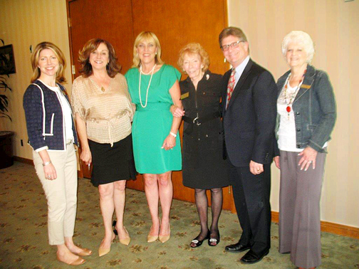 Attending the recent luncheon of the La Crescenta Republican Women Federated were, from left, Sharon Hales, Rita Hadjimanoukian, Kathryn Barger, Coral Weston, Aaron Weissman and June Taylor.
