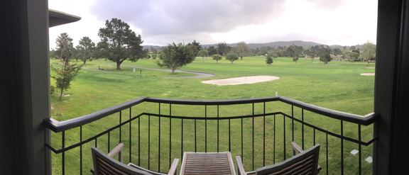 Panoramic view of the golf course from the balcony of the hotel room