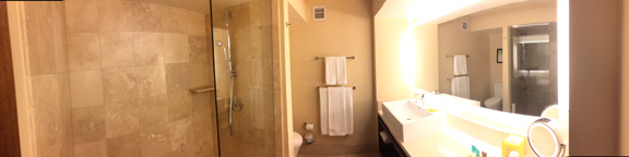 Beautiful bathrooms in the guest rooms