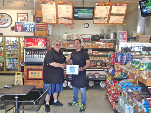 Photo provided by Michael LE FEVRE Michael LeFevre, left, Pizza Wars event coordinator (CVIM), and Raymond Cherfane, owner Gardenia Market and Deli at 4121 Pennsylvania Ave. in La Crescenta.