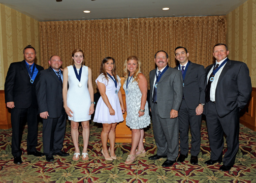 John Goffredo and his son Jim were joined by seven inductees into the  Hall of Fame for the class of 2016. Pictured are honorees  Claire Collison (track/cross country); Deneil Noah (softball);  Mark McCauley (baseball/basketball); Mike Muhlethaler (baseball/football);  Jordan Olson (baseball), and Jorden Schulz (soccer). Absent was  Brian Goorjian (basketball) who was out of the country. Photos by Leonard COUTIN