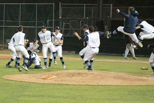 Photo by Drew ARREDONDO The Falcons celebrate winning a share of the Pacific League on May 13.