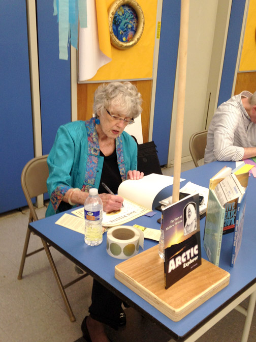 Author Jeri Chase-Ferris signing books for Valley View students.