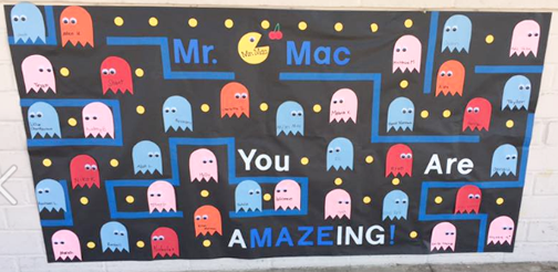 Decorated doors celebrating the wonderful teachers at Valley View (6th gr.)