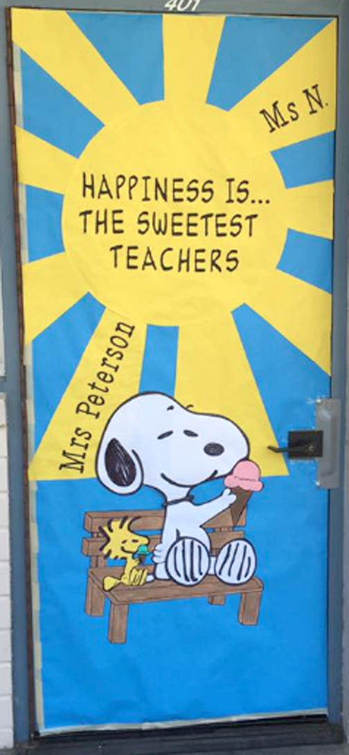 Decorated doors celebrating the wonderful teachers at Valley View