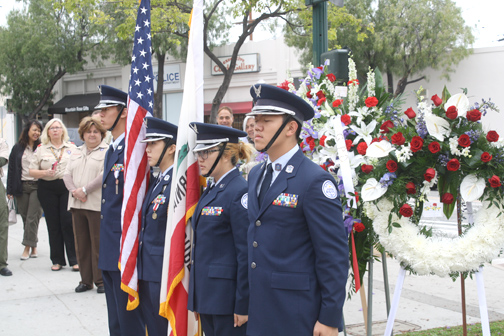 Photo by Dylan SYLVESTER The Crescenta Valley High School JROTC presented the colors starting the Memorial Day service at the Vietnam War Memorial site in the Montrose Shopping Park.