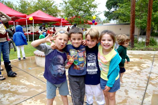 St. George's students Tommy Remender, Brady Womack, Grayson Papier and Molly Danni had fun in the water balloon toss.