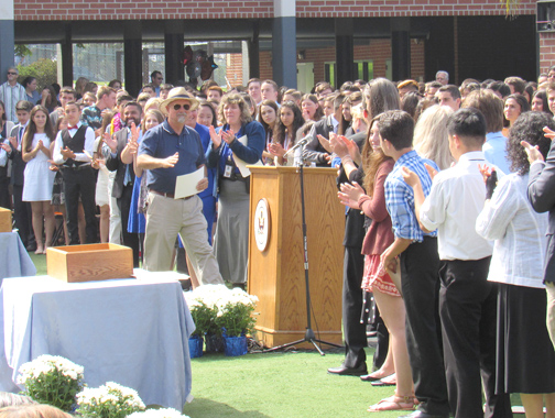 "Parker received a standing ovation from students, parents and Rosemont teachers and staff as he received his ""diploma."""