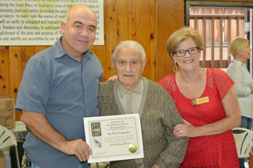 Harry Leon and Joanne Stupakis from the CV Town Council were on hand to honor Cannella with a certificate.