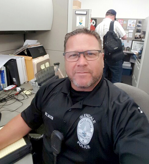 Glendale Police Officer Joe Allen is growing a beard in support of fundraising efforts for Jorge Acevedo.