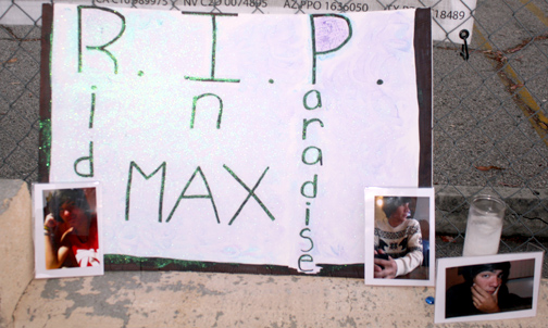 Photos by Robin GOLDSWORTHY A poster honors Max Gonzalez who died on July 2 after he was struck by a car when riding his motorcycle in the 8000 block of Foothill Boulevard.