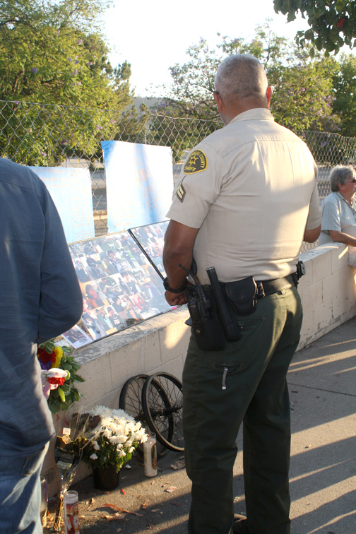 Deputy JR Ruiz stopped by the vigil on Friday night to pay his respects.
