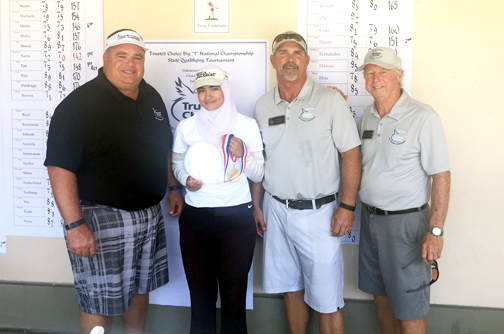 From left are Rick Dinger, girls division qualifier Noor Ahmed, Scott Bedell and Roger McCollum.